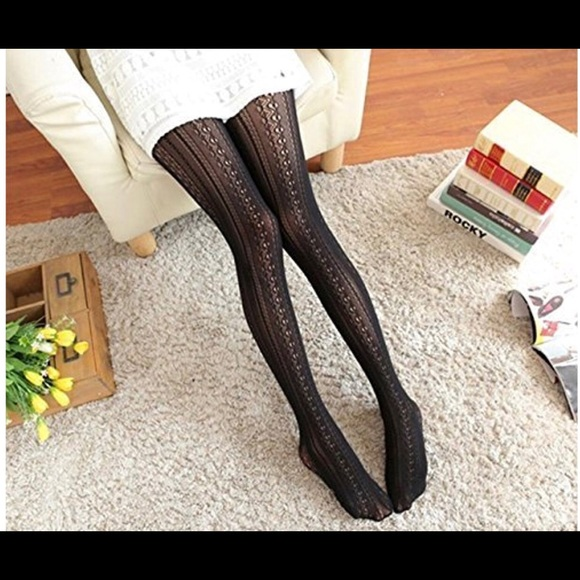 a923a803e 2 pairs black lace pattern tights. One size new